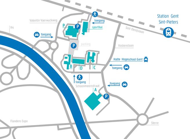 Map Campus Schoonmeersen