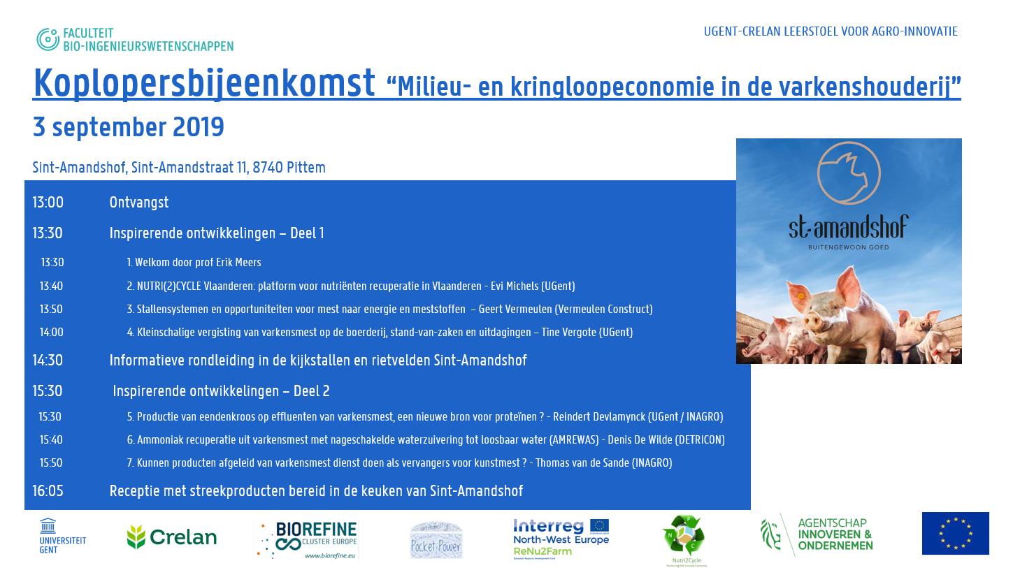 """Koplopersbijeenkomst: """"Milieu- en kringloopeconomie in de varkenshouderij"""""""