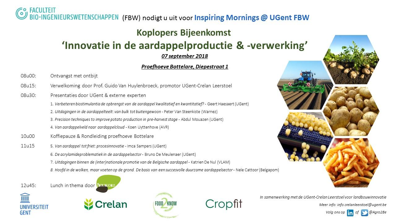 programma stakeholdermeeting Crelan koplopermeeting aardappelteelt 7 september