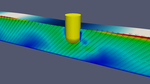 Simulation of the porous flow in a breakwater