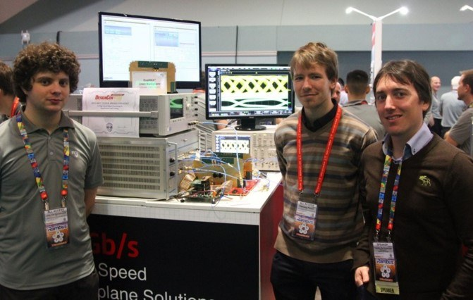 DesignCon 2015 demonstrator, supported by FCI: 56Gb/s backplane interconnect enabled by our custom Tx/Rx chips and duobinary signaling