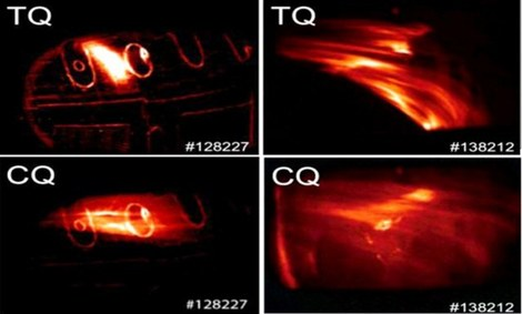 Images of various phases of a disruption (thermal and current quench) in the DIII-D tokamak.  (General Atomics)