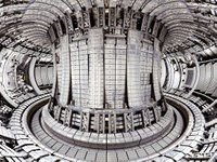 JET, the European tokamak  in Culham near Oxford in  the United Kingdom. The picture shows the interior of the vessel, with the ITER-like wall.