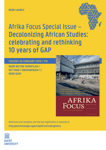 Book Launch Afrika Focus Special Issue – Decolonizing African Studies: celebrating and rethinking 10 years of GAP