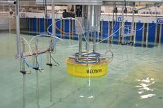 WECfarm Wave Energy Converter at the wave basin of Aalborg University