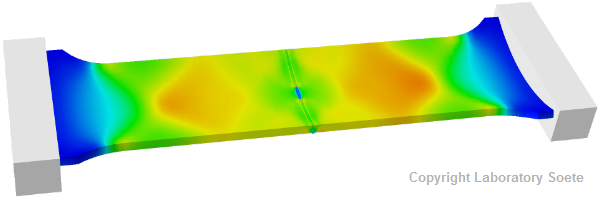 Longitudinal strain field calculated by a finite element model of a curved wide plate test specimen under tension.