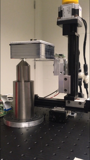 Figure 1: Calibration setup for the calibration of a monolithic 50x50x16 mm3 LYSO detector coupled to a 8x8 array of silicon photomultipliers.