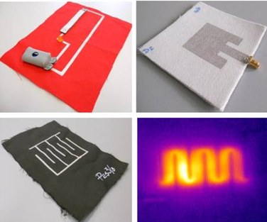 Screen printing with conductive silver inks on textile substrate for different applications: circuit with LED light and textile pressure sensor, microstrip inset-fed patch antenna, polypyrrole-coated polyester fabric for heating element and thermographic image of heating circuit