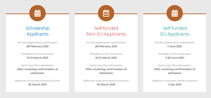 overview of the deadlines for WE-TEAM applications cohort 2021-2023