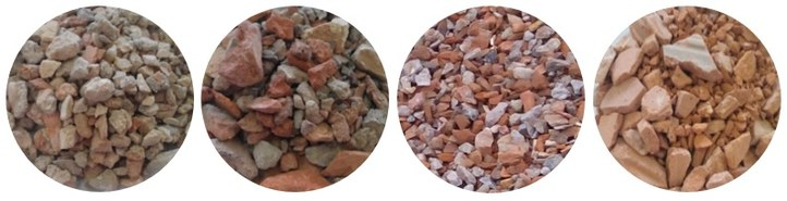 Recycled aggregates from CDW showing varying amounts of ceramic materials.