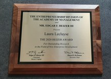 prentje Laura Lecluyse won the prestigious 2020 Heizer Doctoral Dissertation Award