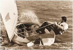 Olympian Jacques Rogge, during a Finn class sailing competition in Hyeres (France) in 1974. In that period, Dr Rogge performed experimental research on laboratory-simulated sailing at Ghent University.