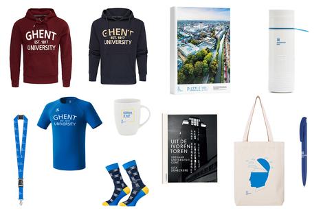 In de UGent-shop kan je terecht voor geschenken, congresmateriaal, kledij, draagtassen... met het UGent-logo.
