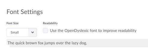 Ufora font size 2