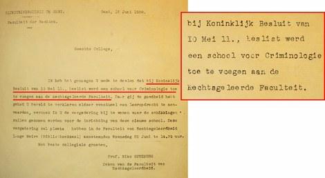 Brief uit archief Criminologie