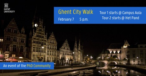 The poster of the PhD Community event Ghent City Walk on 7 February 2019.