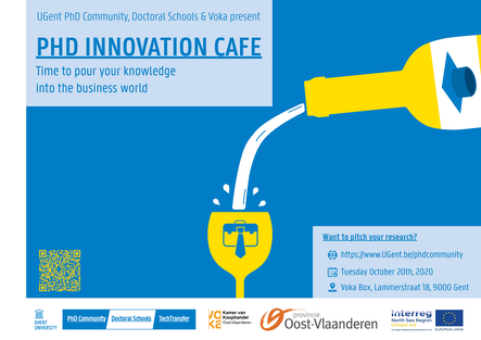 The poster of  the PhD Innovation Café 2020