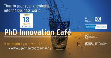The official poster  of the PhD Innovation Café 2021 event