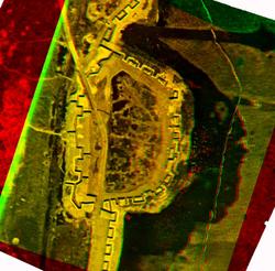 Stereobeeld van een veldversterking uit WO I aan de hand van luchtfoto's