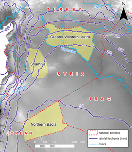 Map showing the climatic landscape of the Syro-Jordanian steppes, and the three case-study regions of this project (yellow shading). Rainfall data from the GPCC.
