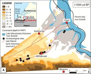 Huidige paleogeografische kaart van het studiegebied tijdens het Laat Glaciaal-Vroeg Holoceen (aangepast van Missiaen et al. 2016)