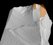 Micro-CT image of the used edge with pieces removed by the use