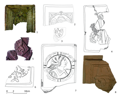 Stove tiles found in Clairefontaine: 1. Ladislas Posthumus, King of Hungary and Bohemia, 2. Elisabeth de Frantz, abbess in Clairefontaine, 3. Eagle of the Dukes of Bohemia, 4. Maximilian I of Austria, Duke of Habsburg and emperor of the Holy Roman Empire, 5. Pierre-Ernest, count of Mansfeld and Governor of Luxembourg, and Marguerite de Bréderode, his first wife, 6. Charles V, imperial eagle and chain of the Order of the Golden Fleece, 7. Eleonora of Habsburg, 8. Armoury of the County of Luxembourg.