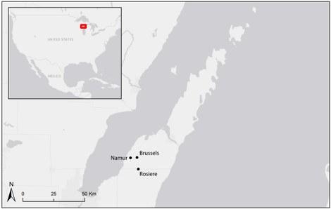 Locatie van de bestudeerde Belgische nederzettingen in Wisconsin: Brussels, Namur en Rosiere.