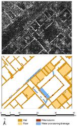 Georadar-slice (diepte: c. 0.60 - 0.65 m) en interpretatie van Ammaia (Portugal)