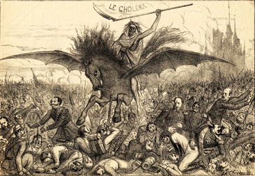 Cholera als apocalyptische ruiter (tekening uit L'espiègle: journal satirique, politique, artistique et littéraire, Brussel, 1866) (vergrote weergave)