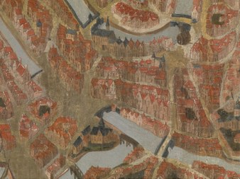 Kaart van Brugge, anonieme meester. Musea Brugge via artinflanders.be. Fotograaf Hugo Maertens (vergrote weergave)