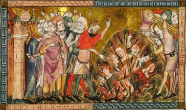 Begrafenis van pestslachtoffers te Doornik, kroniek van Gilles Li Muisis (1272-1352) (vergrote weergave)