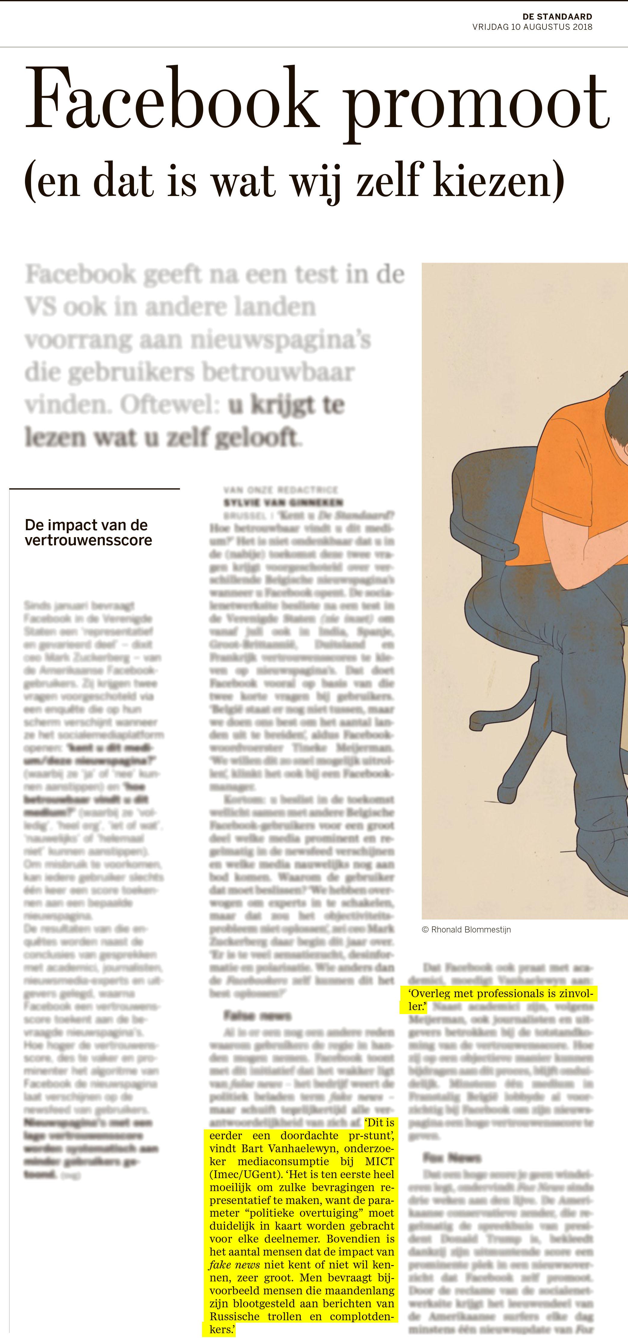 BRON: De Standaard, 10/08/2018, p 2