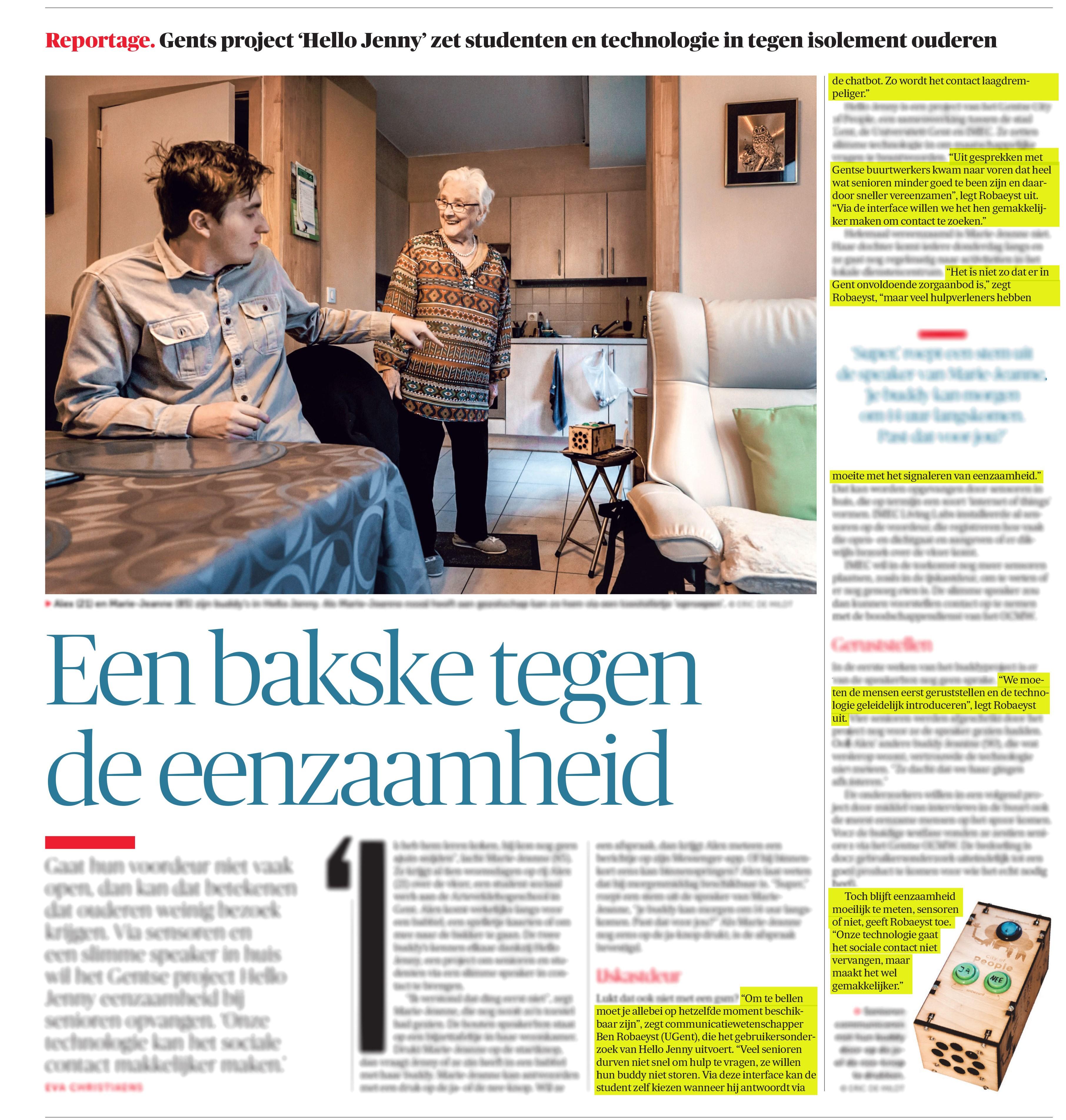 BRON: 20/12/2018, De Morgen, p. 12