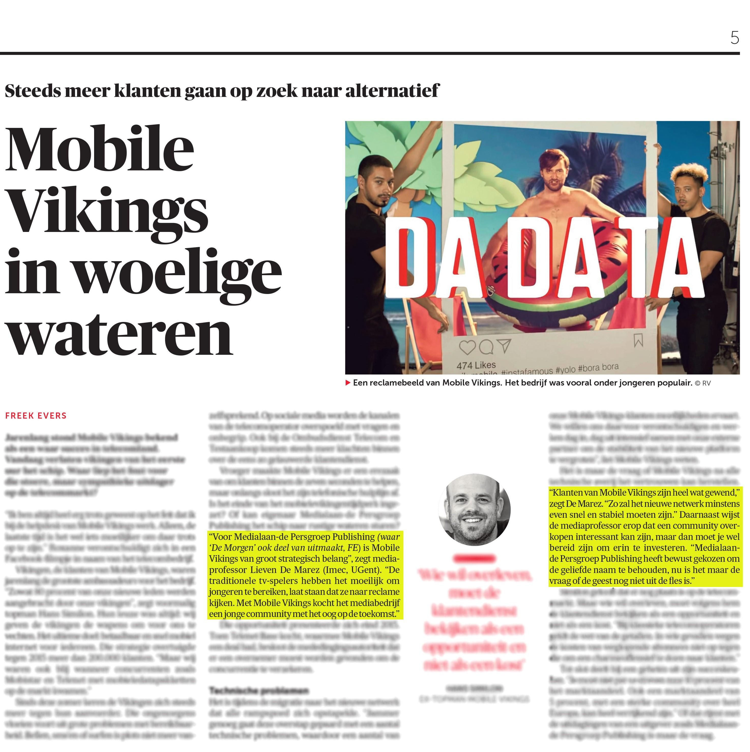 BRON: De Morgen, 27/12/2018, p. 5