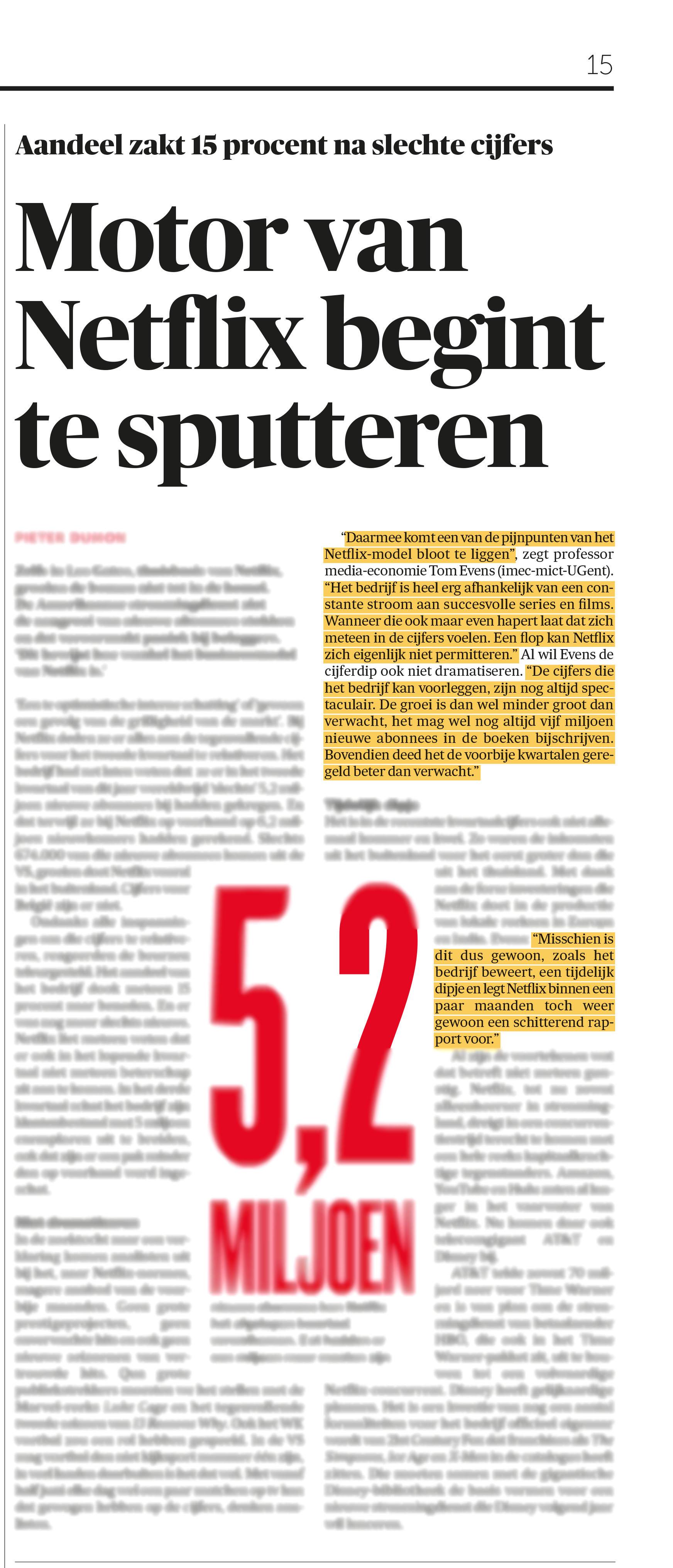BRON: De Morgen, 18/07/2018, p 15