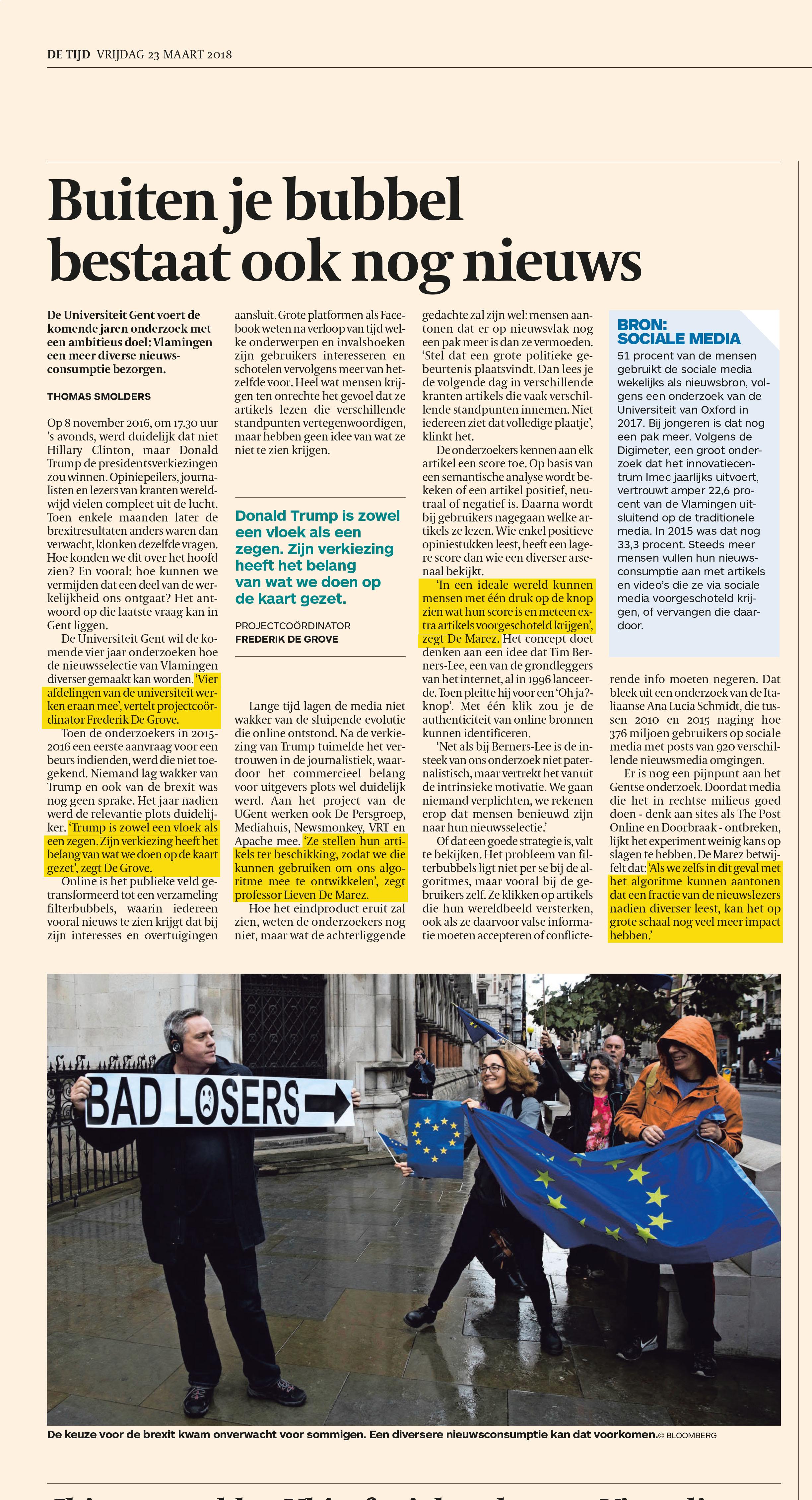 BRON: De Tijd, 23/03/2018, p 21