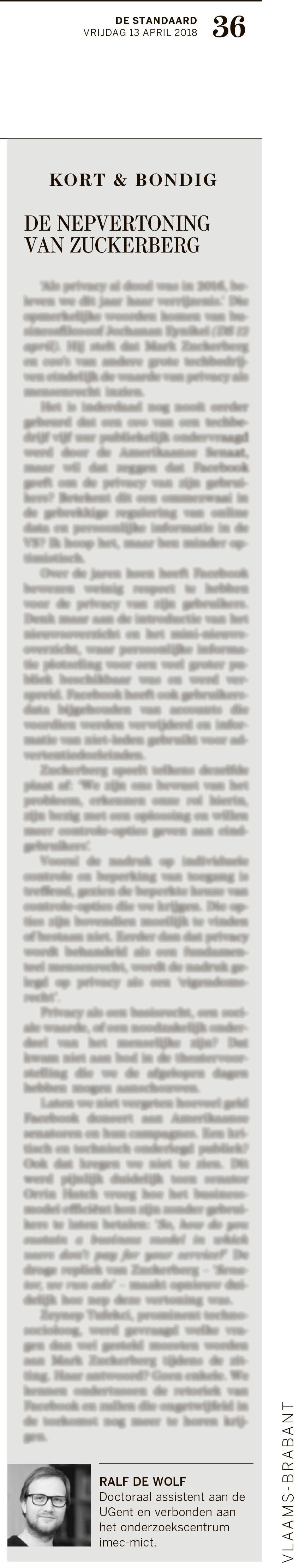 BRON: De Standaard, 13/04/2018, p 36