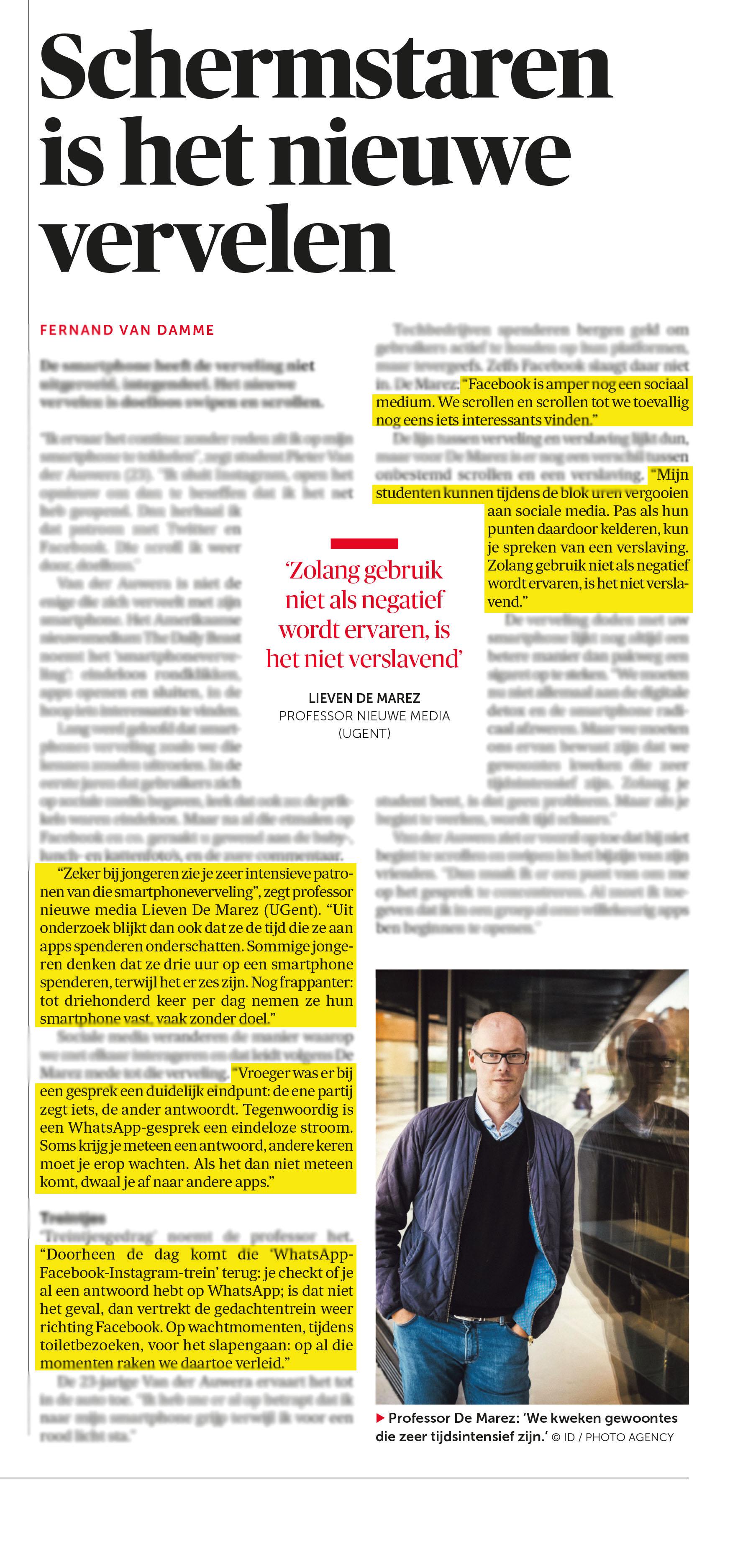 BRON: De Morgen, 6/4/2018, p 9