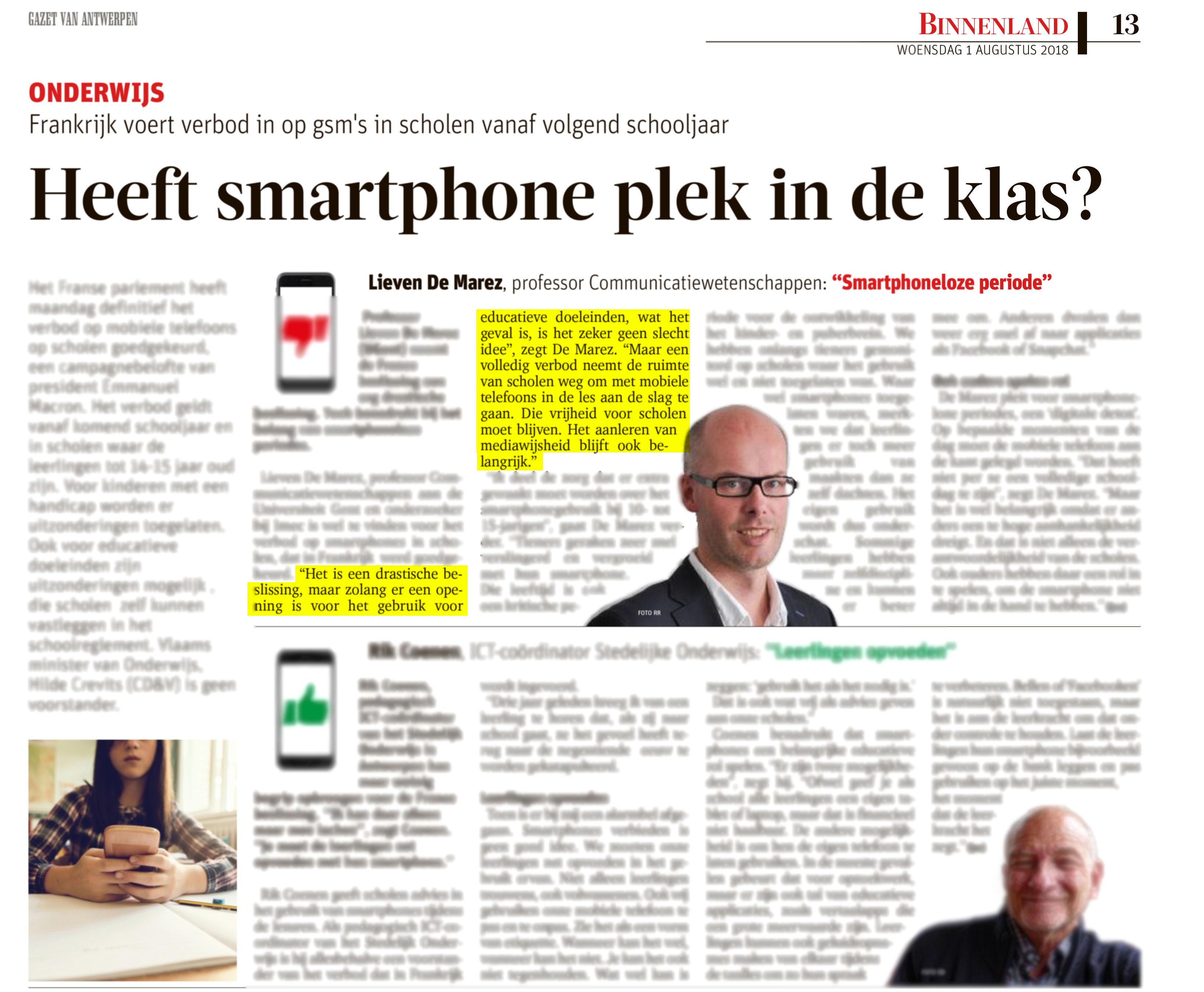 BRON: Gazet Van Antwerpen, 01/08/2018, p 13