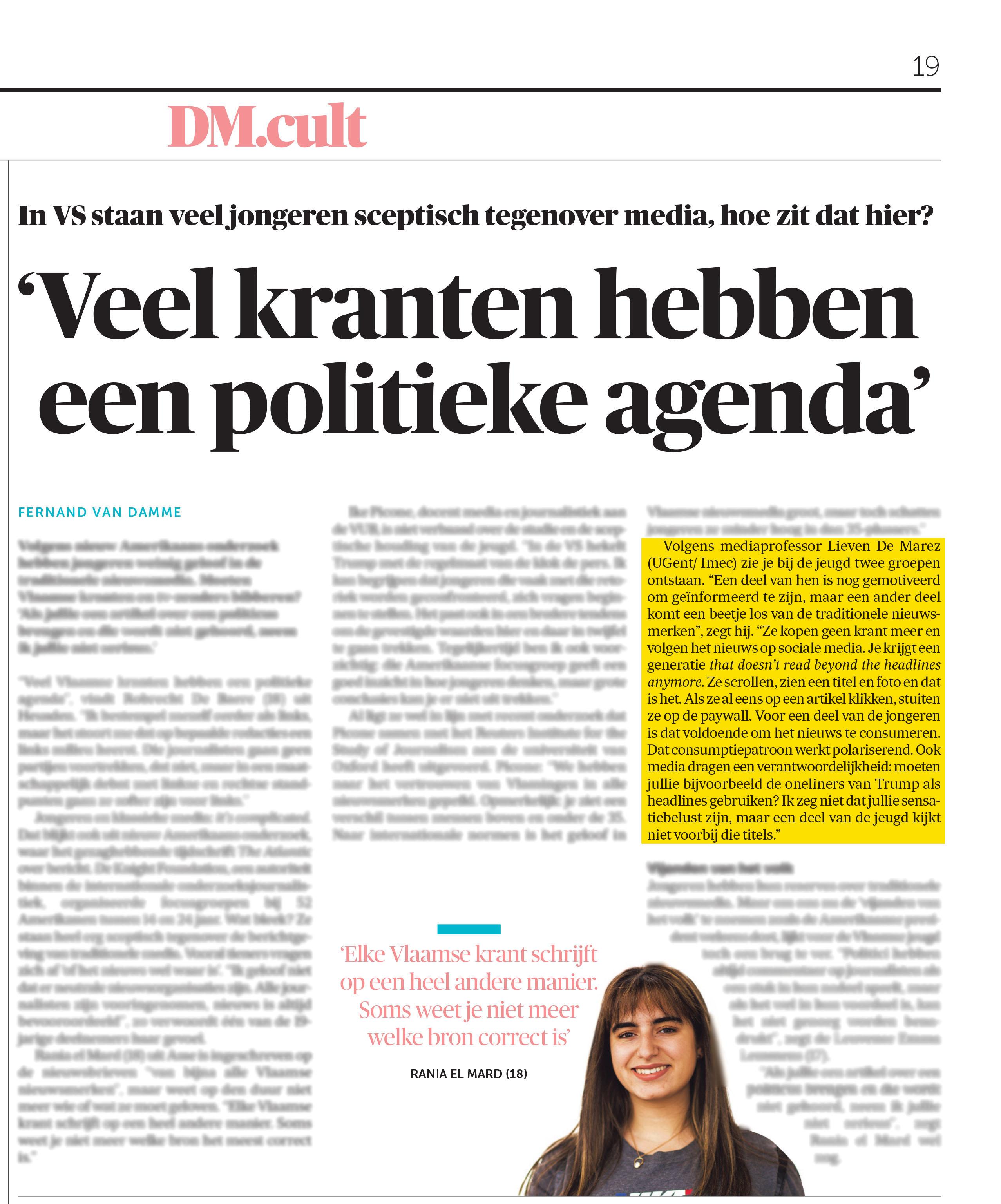 BRON: De Morgen, 04/09/2018, p. 19