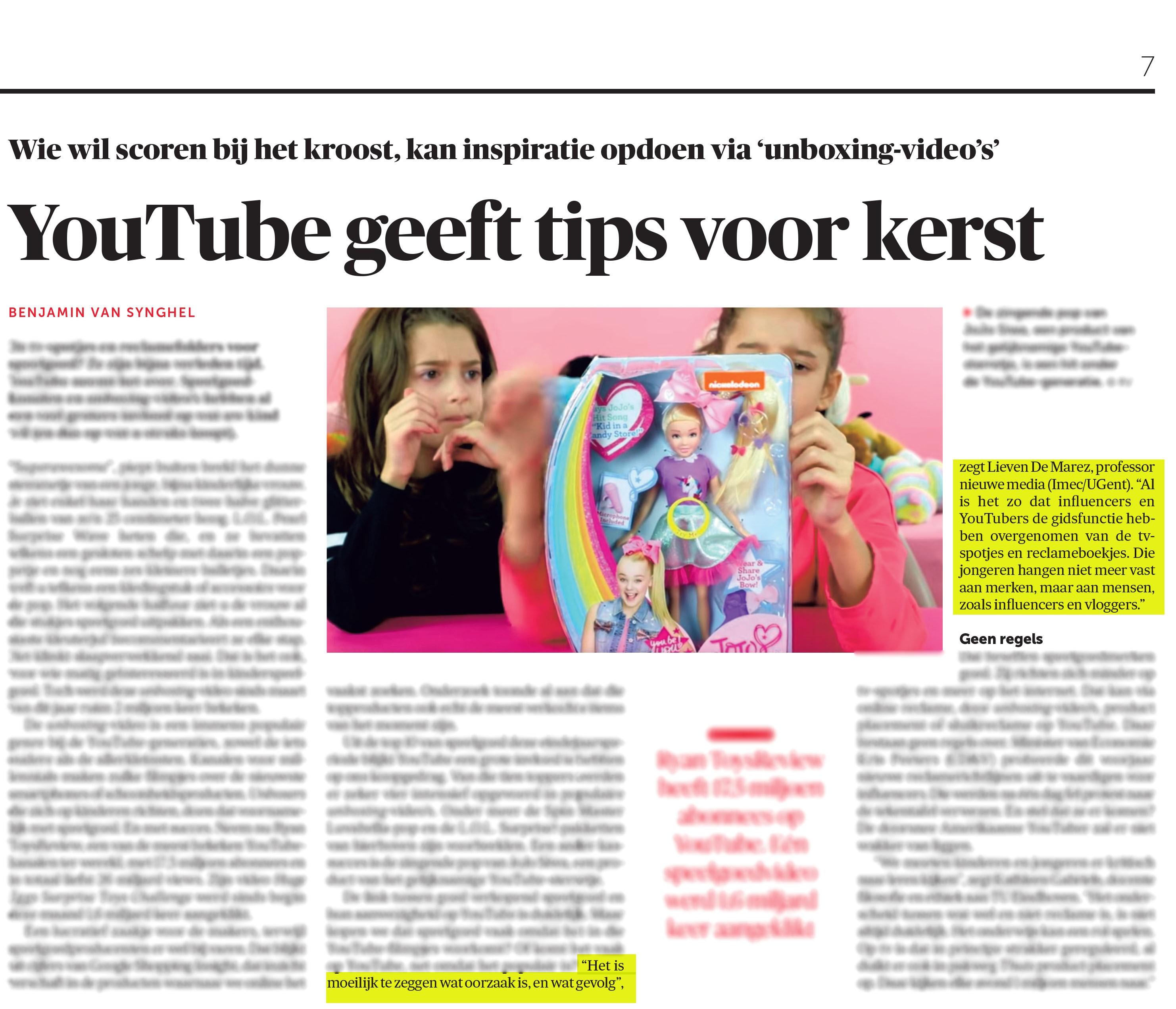 BRON: De Morgen, 12/12/2018, p. 7