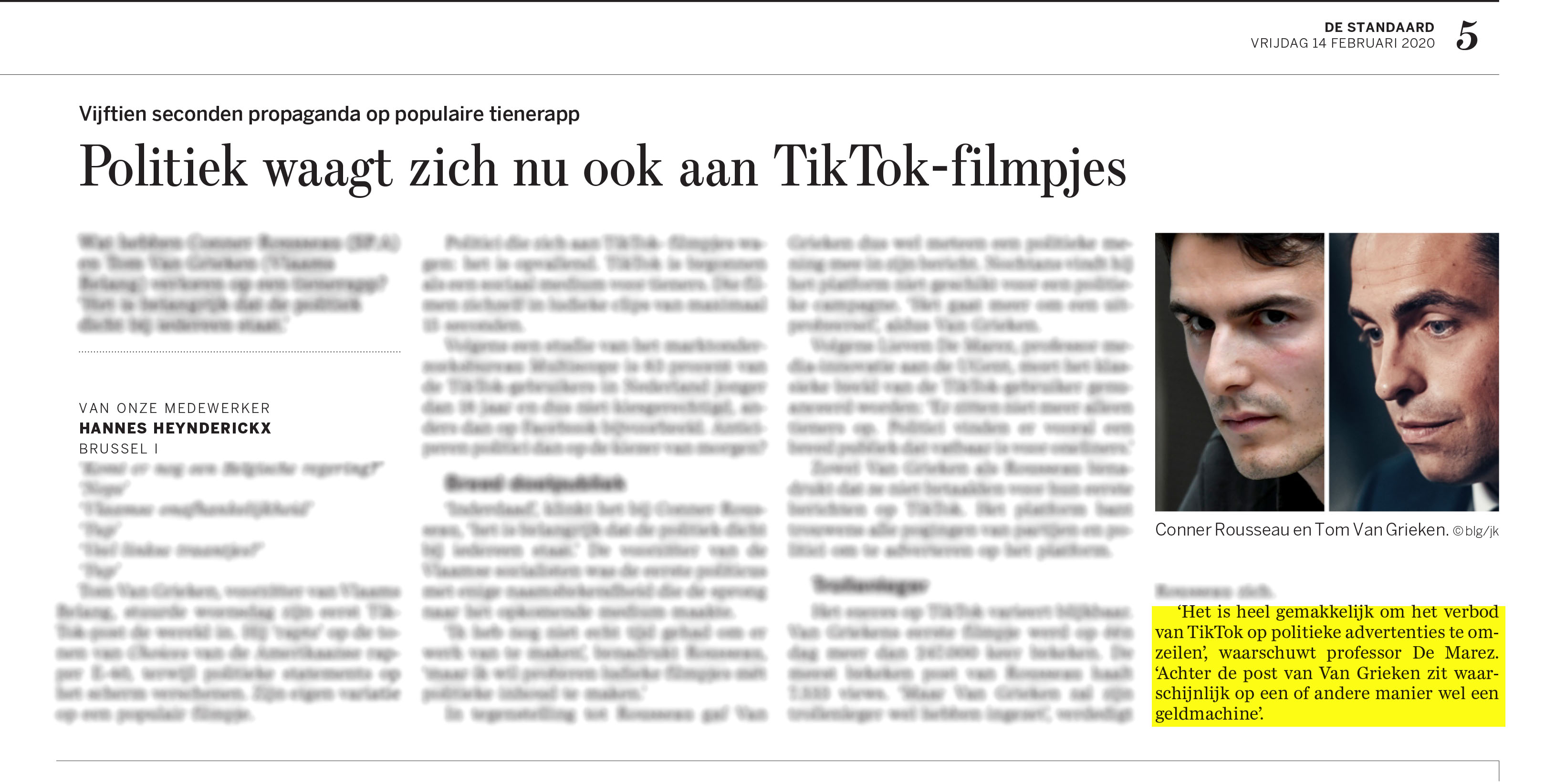 BRON: De Standaard, 14/02/2020, p 5