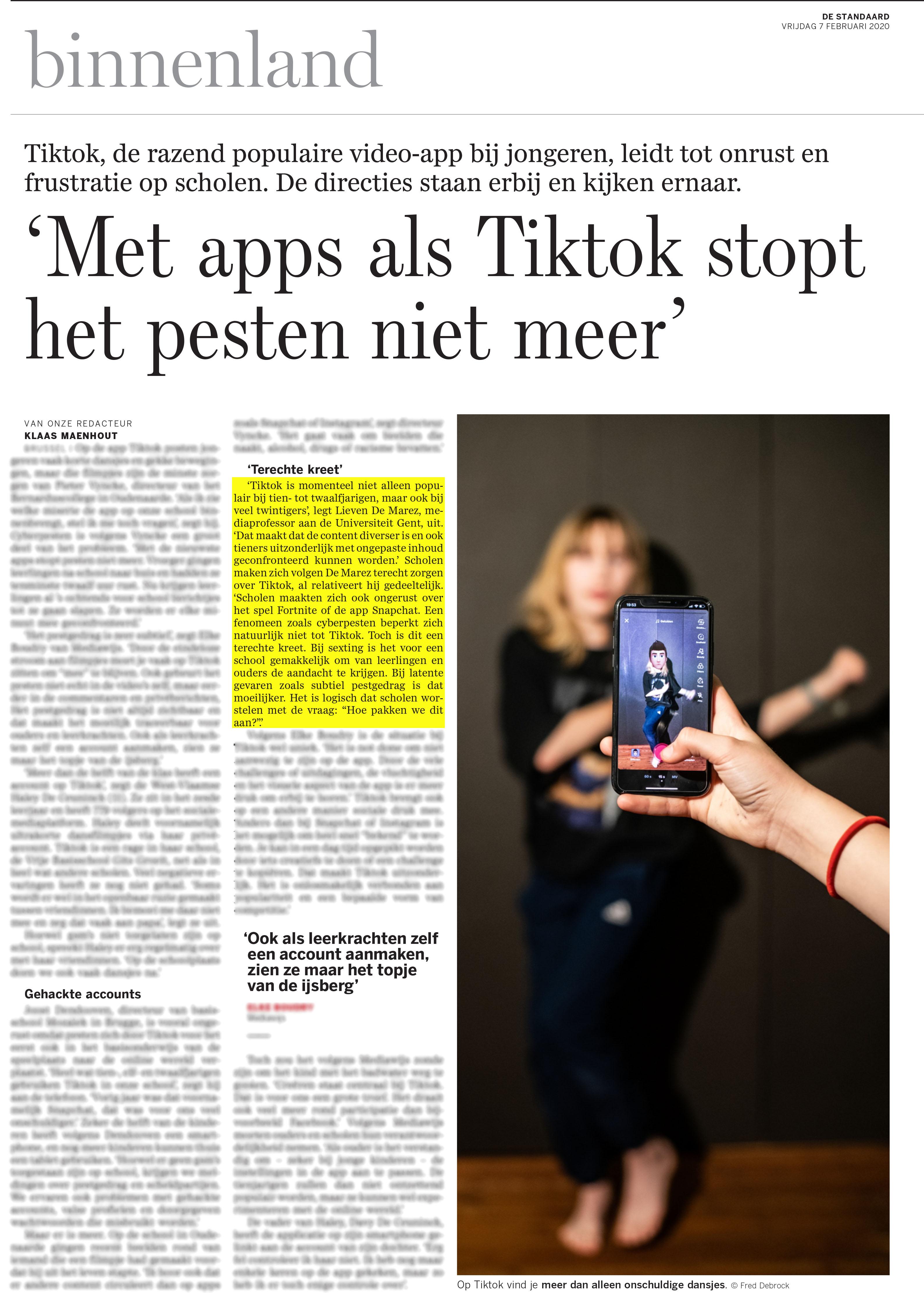 BRON: De Standaard, 07/02/2020, p 6
