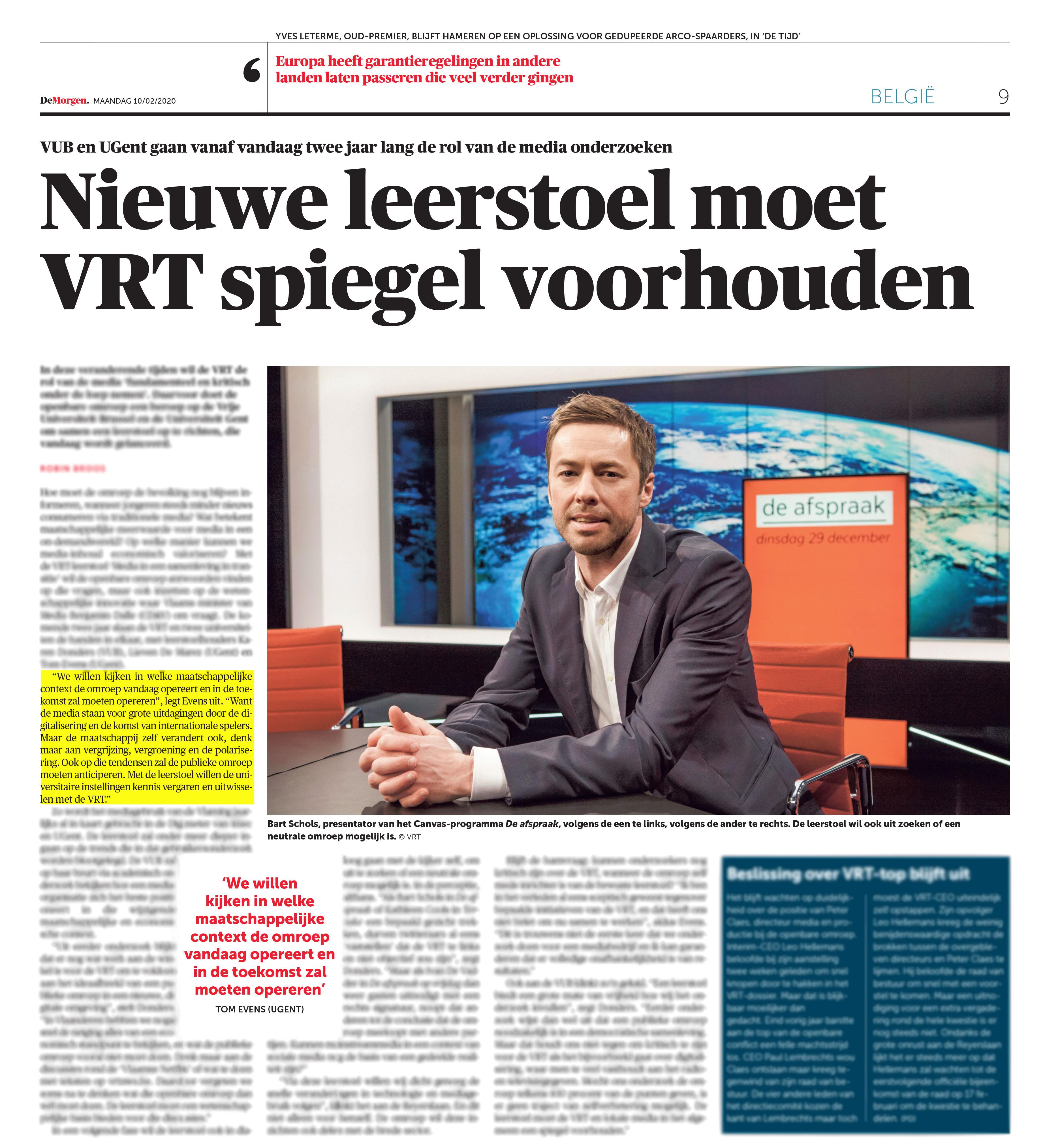 BRON: De Morgen, 10/02/2020, p 9