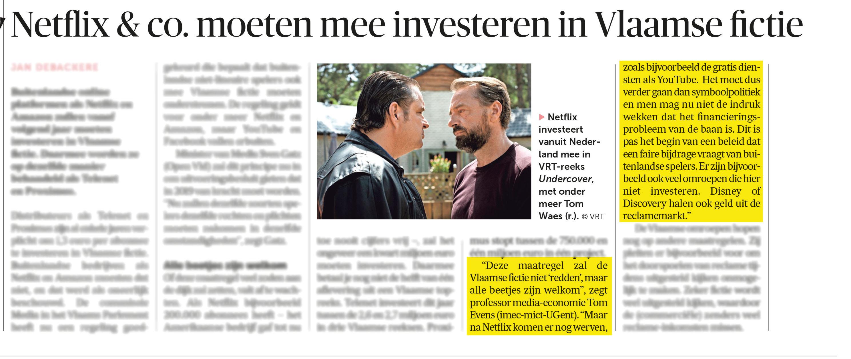 BRON: De Morgen, 01/06/2018, p 19