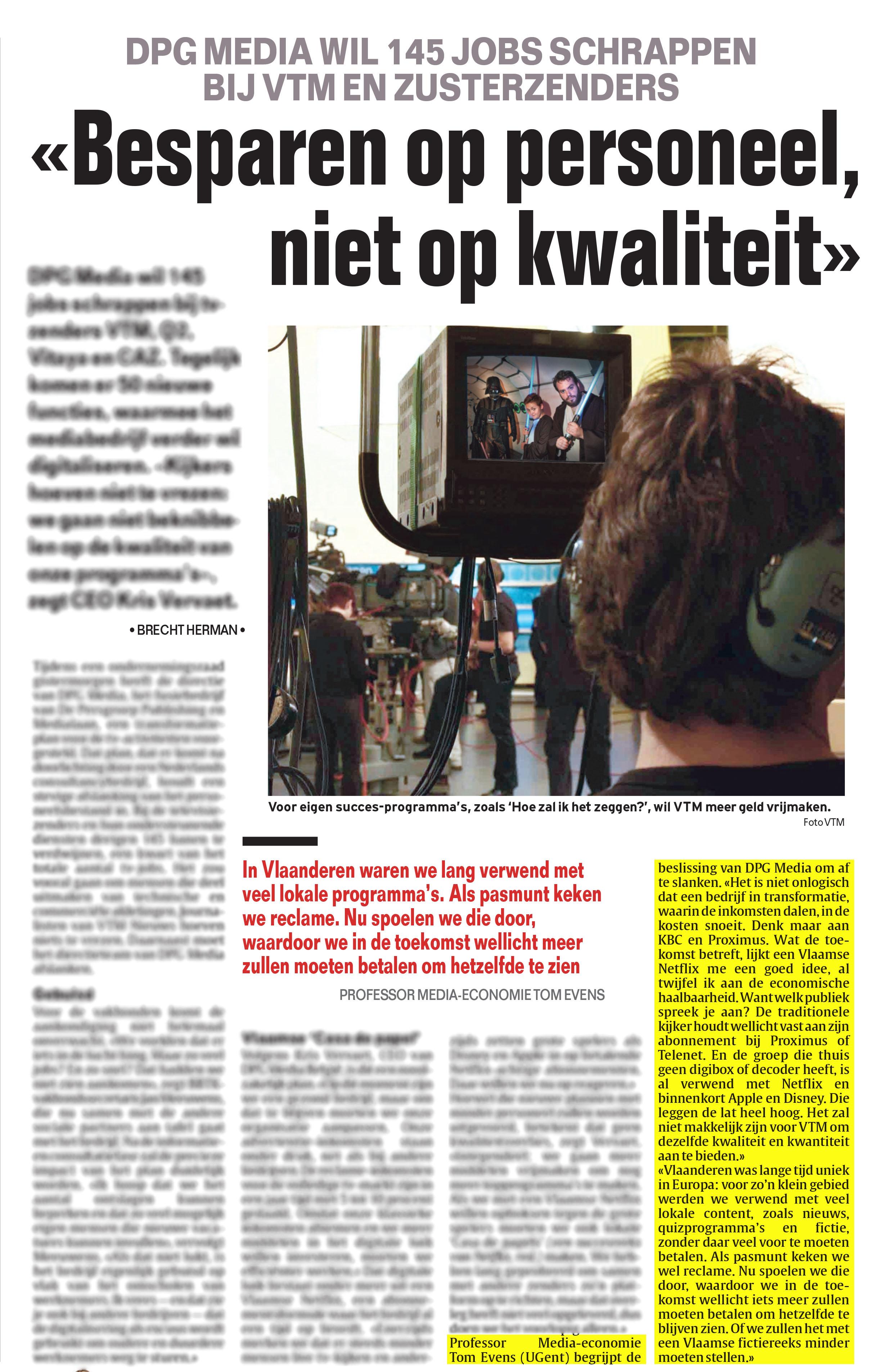 BRON: Het Laatste Nieuws, 25/09/2019, p 12