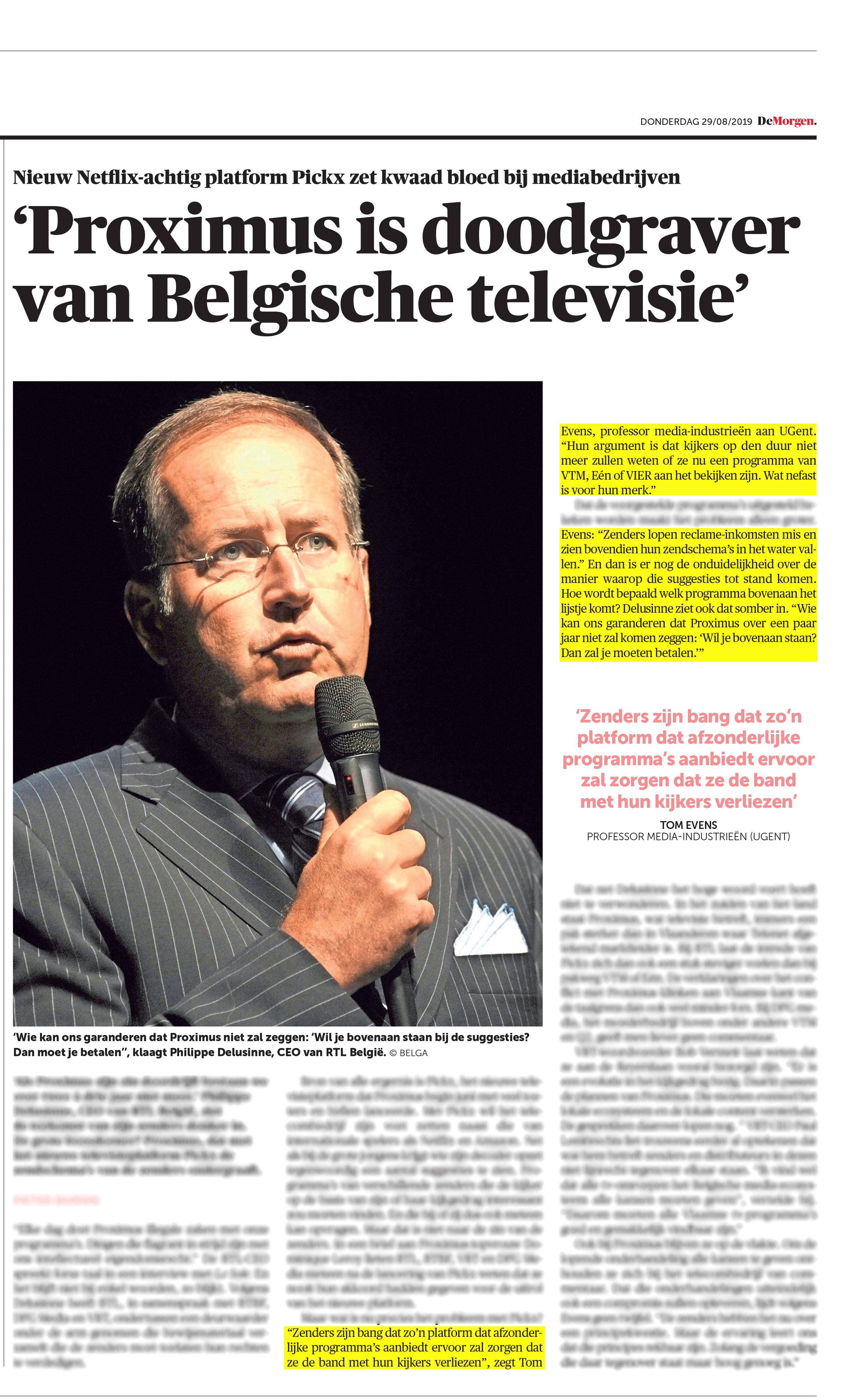BRON: De Morgen, 29/08/2019, p 14