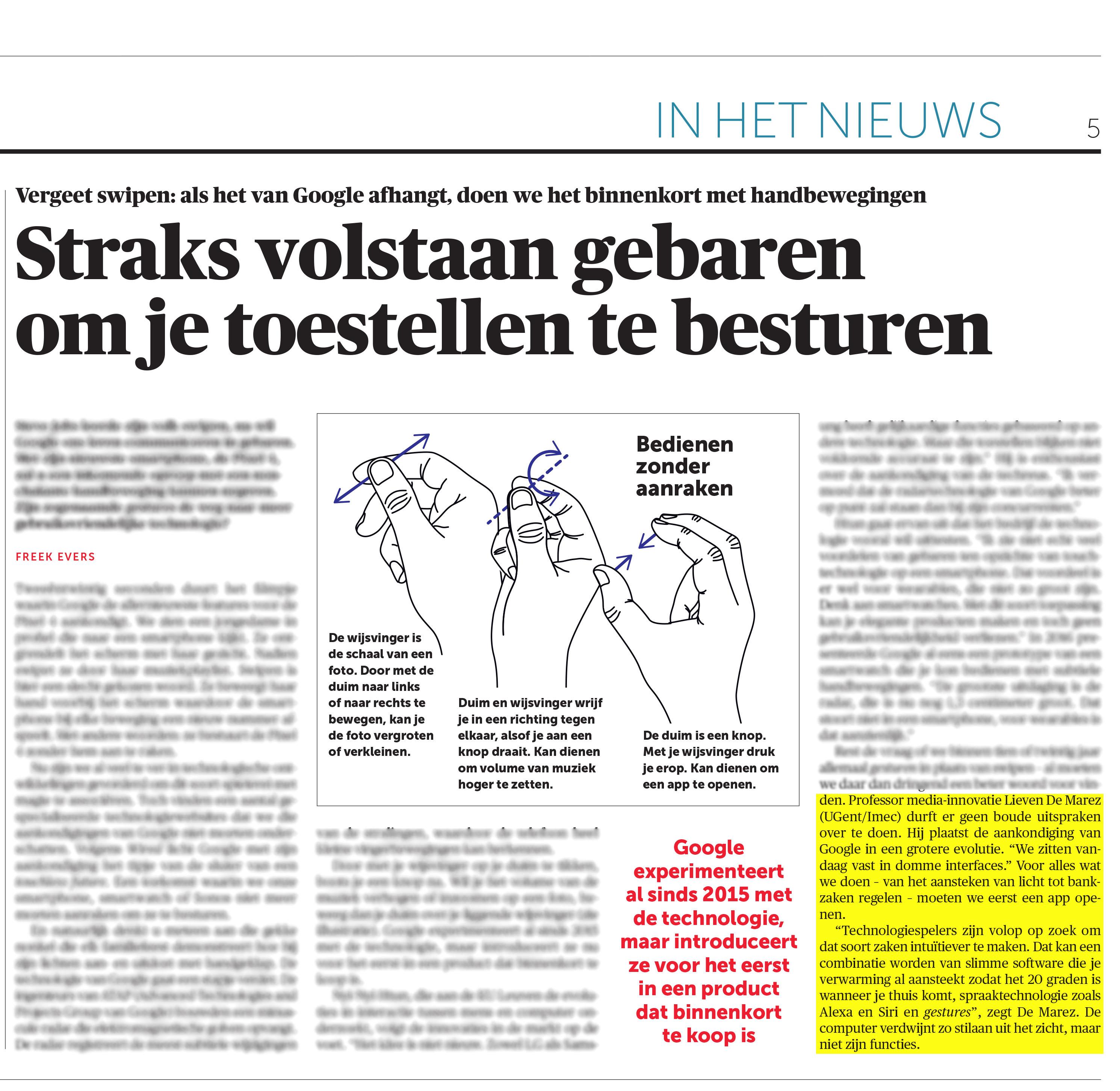 BRON: De Morgen, 02/08/2019, p. 5