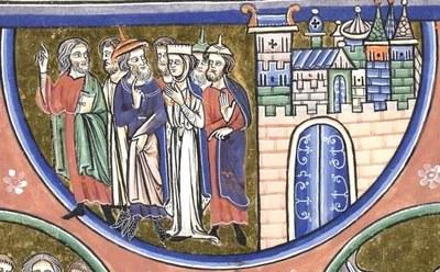Paris, Bibl. de l'Arsenal 1186, fol. 168, Antichrist séduisant les hommes, c. 1225